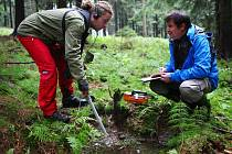 Přírodovědci zkoumají radioaktivní prameny.