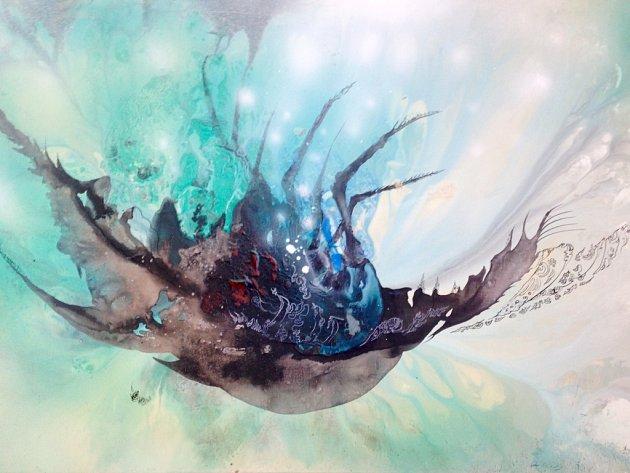 JIŘÍ PTÁČEK: Langusta. Akryl na plátně, 70x100 cm, 2015.