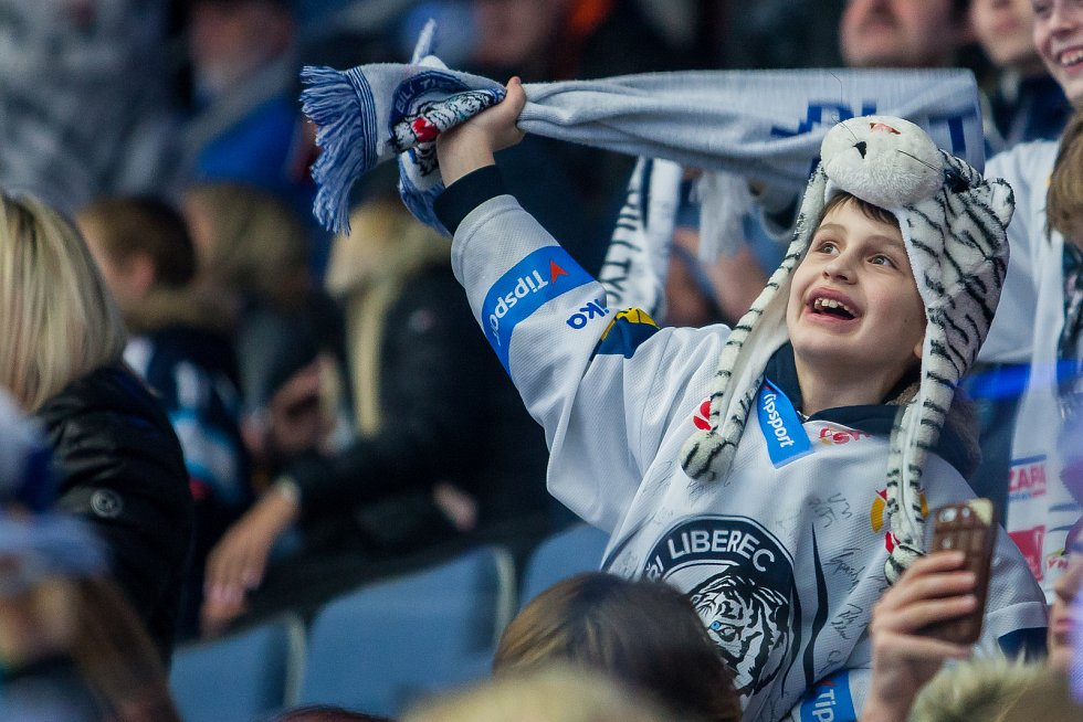 Utkání 39. kola Tipsport extraligy ledního hokeje se odehrálo 12. ledna v liberecké Home Credit areně. Utkaly se celky Bílí Tygři Liberec a HC Vítkovice Ridera. Na snímku je fanoušek Liberce.