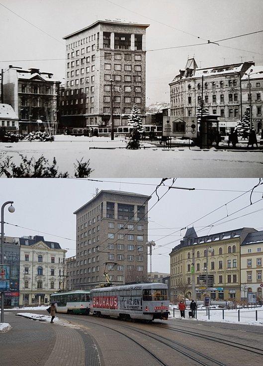 Srovnávací fotografie: Soukenné náměstí v 60. letech 20. století a v roce 2021.
