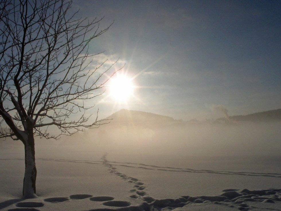 Zimní ráno na Jizerce.