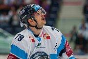 Utkání 18. kola Tipsport extraligy ledního hokeje se odehrálo 14. listopadu v liberecké Home Credit areně. Utkaly se celky Bílí Tygři Liberec a PSG Berani Zlín. Na snímku je Libor Hudáček.