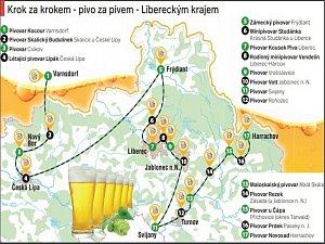 Pivo za pivem v Libereckém kraji.
