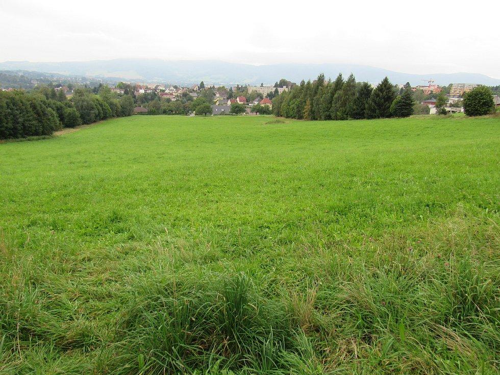 Louka u Sladovnické ve Vratislavicích, kde vyrostou rodinné a řadové domy a viladomy.
