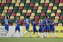 Fotbalisté Liberce se radují po vstřelené brance.