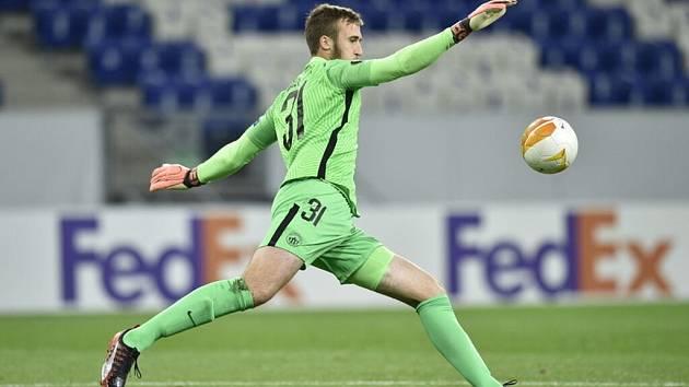 Brankář Slovanu Liberec Lukáš Hasalík během duelu s Hoffenheimem.