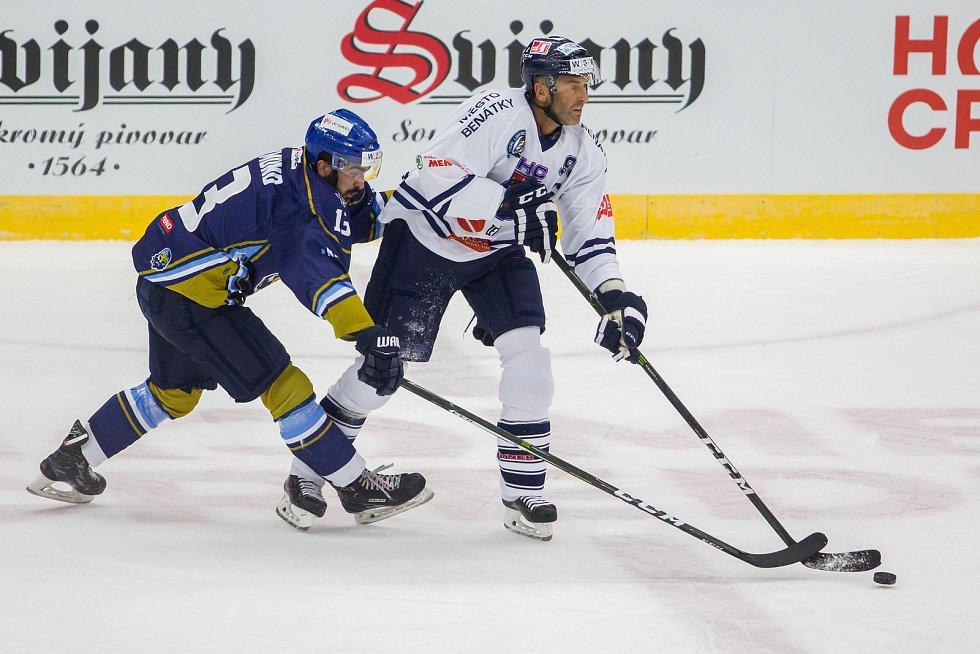 Utkání 46. kola WSM ligy ledního hokeje se odehrálo 3. února v liberecké Home Credit areně. Utkaly se celky HC Benátky nad Jizerou a Rytíři Kladno. Na snímku zleva Ladislav Zikmund a Petr Nedvěd.