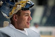 První trénink sezony 2018/19 na ledě hokejistů extraligového týmu Bílí Tygři Liberec proběhl 16. července v Liberci. Na snímku je brankář Roman Will.