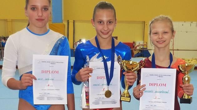 SG LIBEREC. Zleva: Aneta Bábíková, Karolína Bartuňková, Barbora Drahoňovská.