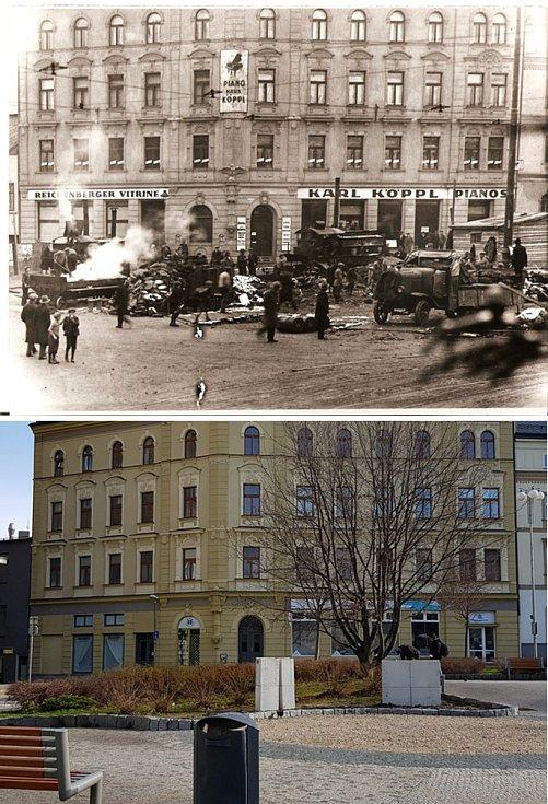 Srovnávací fotografie: Soukenné náměstí v roce 1931 a v roce 2021.
