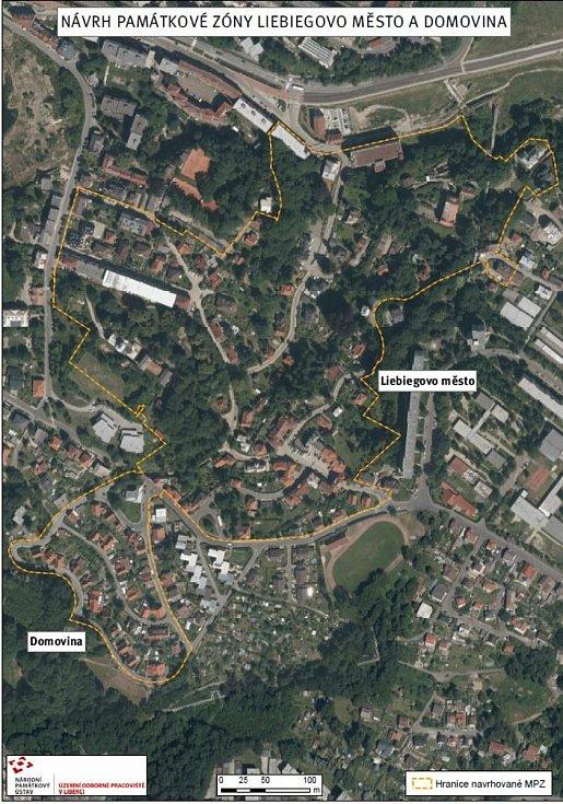 Mapka plánu na vyhlášení městské památkové zóny