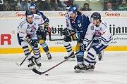 Utkání 46. kola WSM ligy ledního hokeje se odehrálo 3. února v liberecké Home Credit areně. Utkaly se celky HC Benátky nad Jizerou a Rytíři Kladno. Na snímku v modrém je Jaromír Jágr.