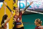 Utkání 4. kola volejbalové UNIQA Extraligy žen se odehrálo 10. listopadu v Liberci. Utkaly se celky VK Dukla Liberec a Volejbal Přerov. Na snímku je Anna Šotkovská.