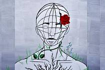 Hlava s růží.