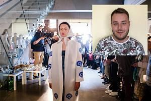 Martin Štefanov a jeho návrh pojmenovaný Lidový oděv budoucnosti.