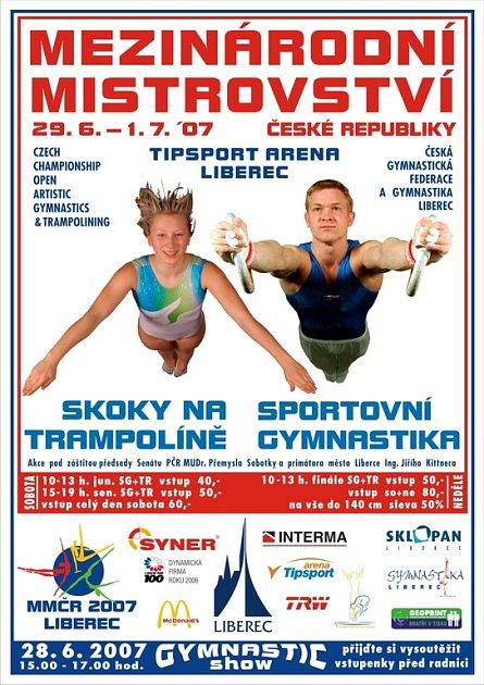 V Tipsport areně Mistrovství ve skocích na trampolíně a sportovní gymnastice.