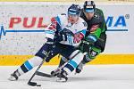 Utkání 6. kola Tipsport extraligy ledního hokeje se odehrálo 30. září v liberecké Home Credit areně. Utkaly se celky Bílí Tygři Liberec a BK Mladá Boleslav. Na snímku vlevo je Marek Kvapil.