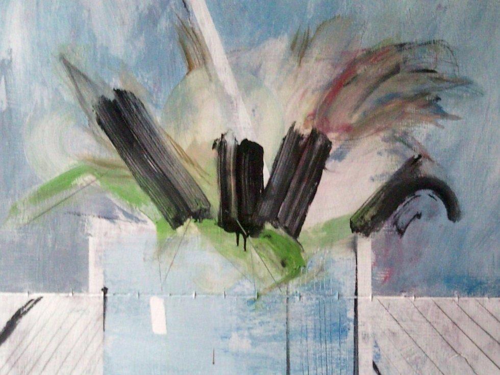 PAST GRADUATION6, 99,5 x 83cm, olej, akryl, tužka na plátně, 2013.