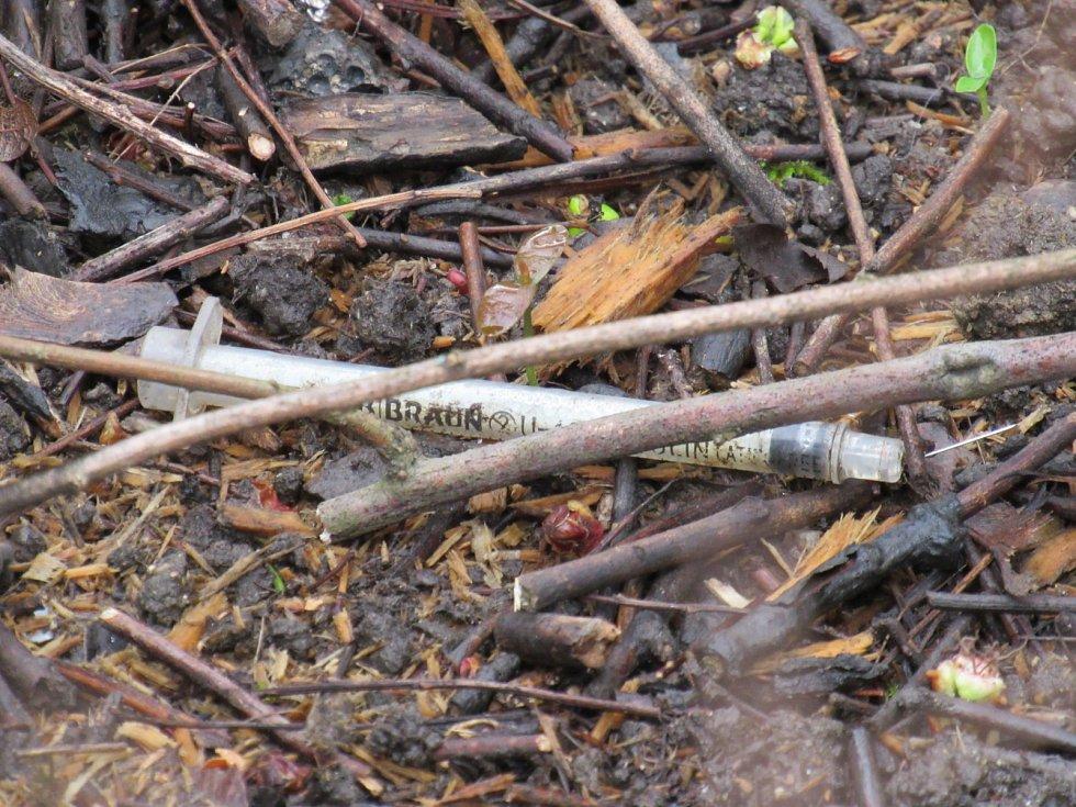 Parčík Na Rybníčku je jedním z míst v Liberci, kde se narkomani často schází. Najít zde použitou jehlu nebo stříkačku tak není žádnou výjimkou.