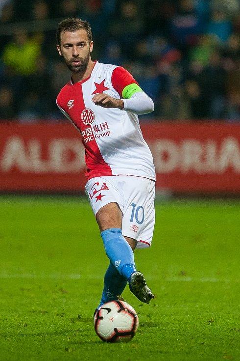 Zápas 12. kola první fotbalové ligy mezi týmy FC Slovan Liberec a SK Slavia Praha se odehrál 21. října na stadionu U Nisy v Liberci. Na snímku je Josef Hušbauer.