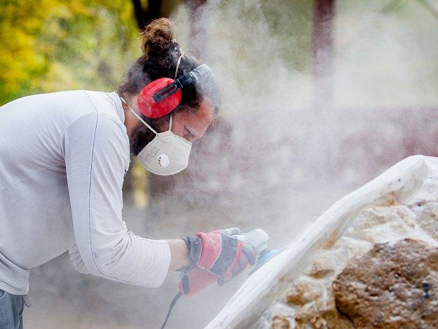 Sochařské sympozium EtnoArt pokračovalo 15. srpna v areálu zahrady Lidových sadů v Liberci. Vernisáž a představení hotových uměleckých děl proběhne v pátek 17. srpna od 17 hodin. Na snímku je sochař Ondřej Procházka.