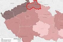 Mapa exekucí – Liberecký kraj