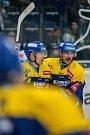 Utkání 18. kola Tipsport extraligy ledního hokeje se odehrálo 14. listopadu v liberecké Home Credit areně. Utkaly se celky Bílí Tygři Liberec a PSG Berani Zlín. Na snímku vpravo je Zdeněk Okál.