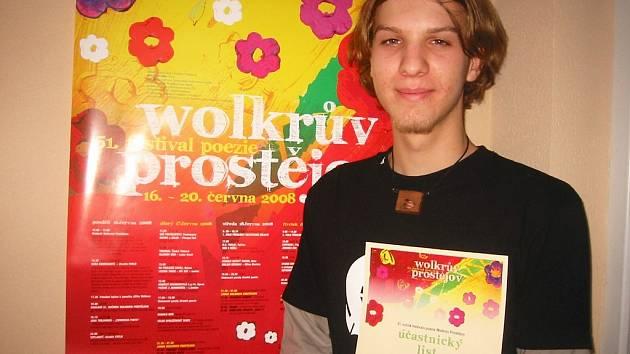 Úspěšný účastník Wolkerova Prostějova Šimon Škapik.