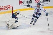 Utkání 46. kola WSM ligy ledního hokeje se odehrálo 3. února v liberecké Home Credit areně. Utkaly se celky HC Benátky nad Jizerou a Rytíři Kladno. Na snímku vpravo Dominik Hrníčko.
