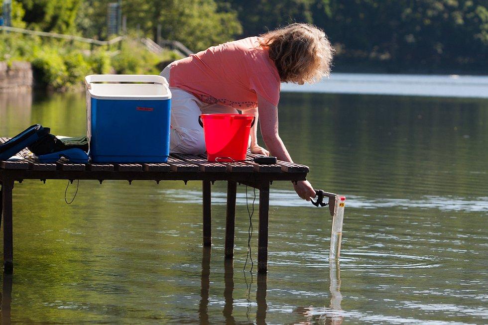 Krajská hygienická stanice provádí odběry vzorků pro zjištění kvality vody v liberecké nádrži Harcov.