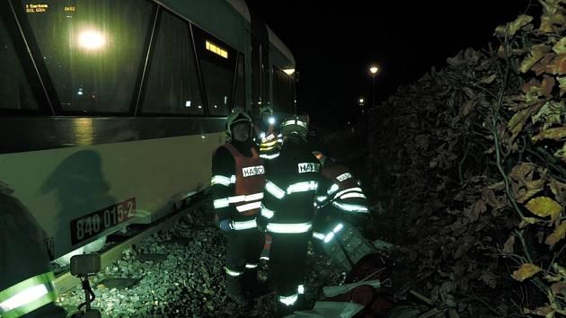 Dopravní nehoda na železniční trati.