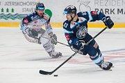 Utkání 39. kola Tipsport extraligy ledního hokeje se odehrálo 12. ledna v liberecké Home Credit areně. Utkaly se celky Bílí Tygři Liberec a HC Vítkovice Ridera. Na snímku vpravo Martin Bakoš.