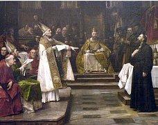 MISTR JAN HUS PŘED KONCILEM KOSTNICKÝM. Známý obraz od Václava Brožíka připomíná dramatickou chvíli ze života jednoho z nejoblíbenějších duchovních své doby.