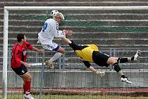 Robin Dejmek (č. 9) vyrovnává v 91. minutě zápasu Slovanu Liberec B se Sezimovým Ústím na 2:2. Za dvě minuty přidá z penalty rozhodující branku.