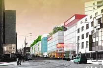 TŘÍDA 1. MÁJE V ROCE 2011. Takto by měla ulice vypadat po výstavbě víceúčelového komplexu pěti budov.