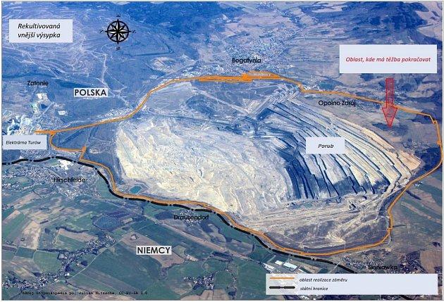 Grafy a analýzy rozšiřování těžby na dole Turów.