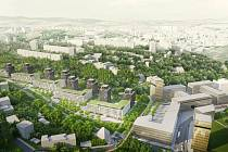 Investor ukázal návrhy, jak by nová čtvrť v areálu bývalé textilní fabriky mohla vypadat.