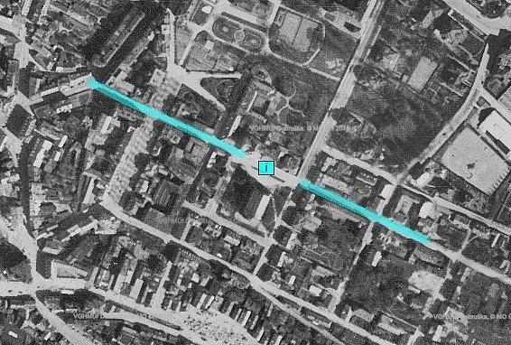 Ulice Boženy Němcové, 1938, letecký snímek