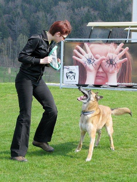 Při charitativním golfovém turnaji na hřišti Ypsilon ve Fojtce vystoupila také cvičitelka vodících psů Jitka Lebedová se svým psem Larrym.