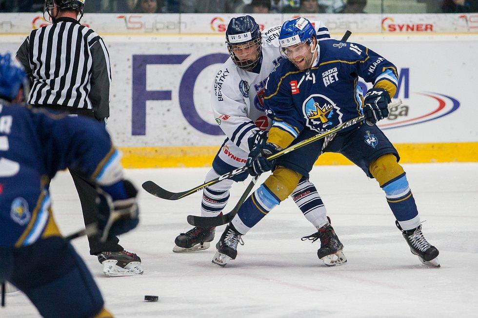 Utkání 46. kola WSM ligy ledního hokeje se odehrálo 3. února v liberecké Home Credit areně. Utkaly se celky HC Benátky nad Jizerou a Rytíři Kladno. Na snímku vpravo je Tomáš Kaut.