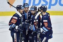 Liberečtí hokejisté se radují po vstřeleném gólu. Zleva: Radan Lenc, Michal Bulíř, Michal Birner a Ronald Knot.