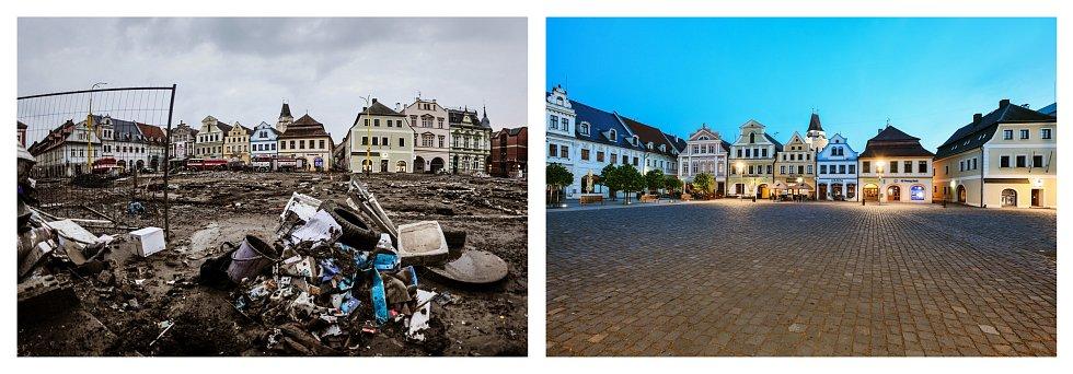 Povodeň na Liberecku před šesti lety. Druhý snímek zachycuje současnost.