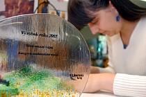 CENY DĚLAJÍ RUČNĚ. Hana Cimplová domalovává cenu Výrobek roku 2007.