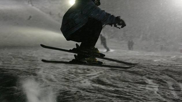 První letošní lyžování na Ještědu.