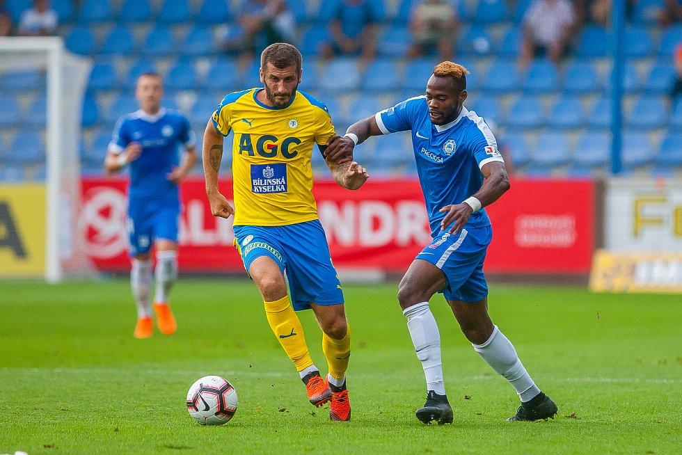 Zápas 3. kola první fotbalové ligy mezi týmy FC Slovan Liberec a FK Teplice se odehrál 4. srpna na stadionu U Nisy v Liberci. Na snímku vpravo Elvis Sukisa Mashike.