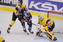 Liberec na ledě Litvínova vyhrál 4:3 po samostatných nájezdech.