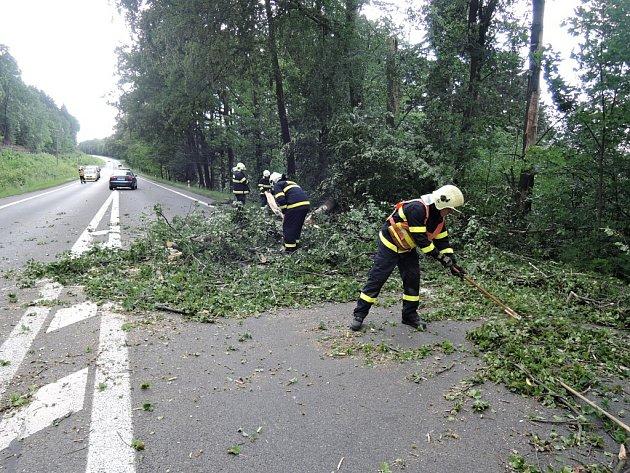 Spadlé stromy a dopravní nehody zaměstnávají hasiče.