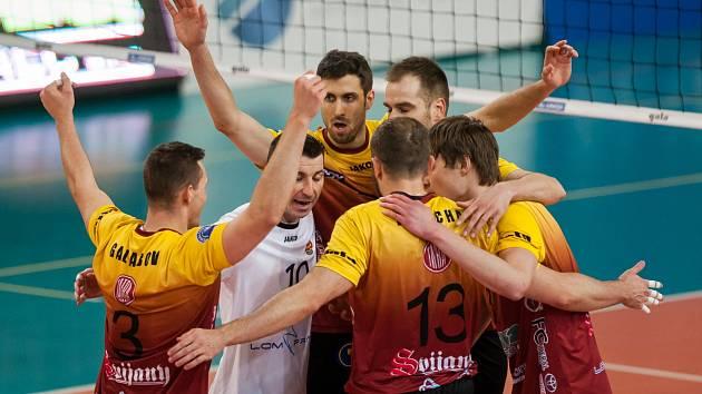 Třetí zápas play off o třetí místo volejbalové extraligy mužů mezi týmy VK Dukla Liberec a VK ČEZ Karlovarsko se odehrál 19. dubna v Liberci. Na snímku radost hráčů Liberce.