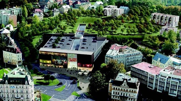 Vizualizace obchodního centra Galerie Liberec na Perštýně.