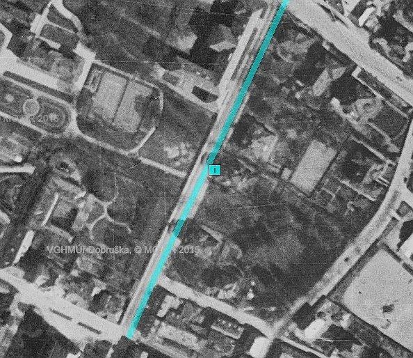 Komenského ulice, 1938, letecký snímek